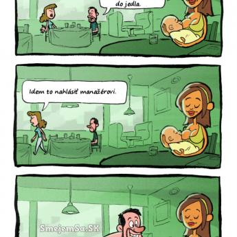 Dojčenie v reštaurácii