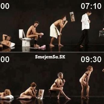 Ráno ženy vs. ráno muža