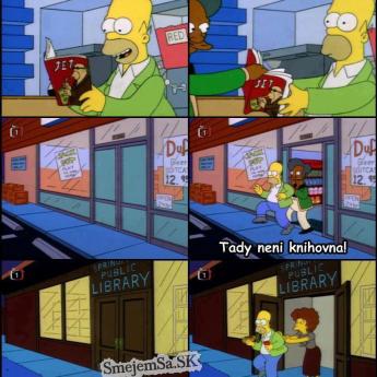 Homer v samoobsluhe a knižnici