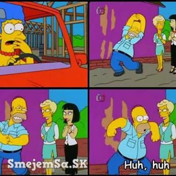 Homer napodobňuje Marge pri pôrode Barta