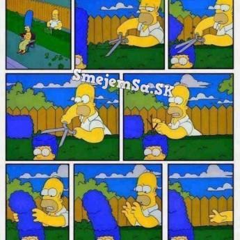 Homer strihá živý plot