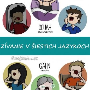 Zívanie v šiestich jazykoch